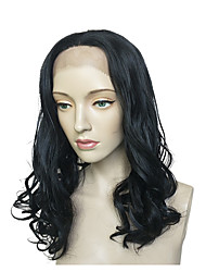 Недорогие -Синтетические кружевные передние парики Естественные кудри Стрижка каскад Искусственные волосы Природные волосы Черный Парик Длинные