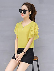 cheap -Women's Going out Street chic Petal Sleeve Loose Blouse - Solid Colored, Basic
