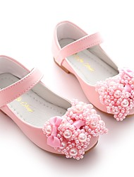 cheap -Girls' Shoes Leatherette Spring Flower Girl Shoes Ballerina Flats Bowknot Imitation Pearl Magic Tape for Wedding Party & Evening White