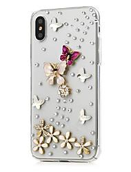 preiswerte -Hülle Für Apple iPhone X iPhone 8 Plus Strass Muster Ganzkörper-Gehäuse Blume Hart PU-Leder für iPhone X iPhone 8 Plus iPhone 8 iPhone 7
