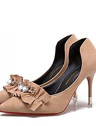preiswerte -Damen Schuhe Nubukleder Frühling T-Riemen High Heels Stöckelabsatz Spitze Zehe Strass für Normal Schwarz Beige Mandelfarben