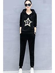 abordables -Mujer Noche Algodón Conjunto - Geométrico Con Capucha Pantalón