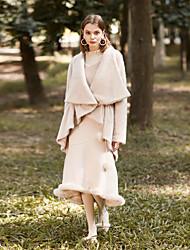 levne -Kabát Dlouhé Dámské Jednoduchý Vintage Zima Denní Jdeme ven Spadlý nabíraný výstřih Jednobarevné Polyester