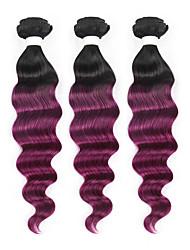 baratos -3 Peças Preto / Roxo Ondulação Larga Cabelo Brasileiro Tramas de cabelo humano Extensões de cabelo 0.3kg