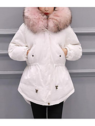 cheap -Women's Long Padded Coat,Casual Going out Solid-Polyester Polypropylene Long Sleeves