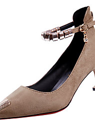 Недорогие -Жен. Обувь Кашемир Весна Удобная обувь Обувь на каблуках На шпильке Заостренный носок Стразы для Повседневные Черный Хаки