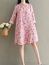 cheap -Women's Simple Loose Dress - Print, Print