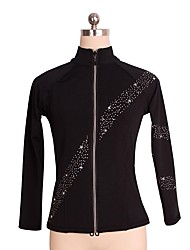 cheap -Figure Skating Fleece Jacket Women's Girls' Ice Skating Top Black Spandex Stretchy Performance Practise Skating Wear Solid Long Sleeves