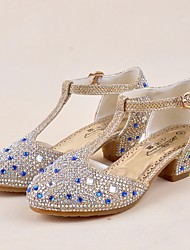cheap -Girls' Shoes Paillette Spring / Summer Tiny Heels for Teens Heels Crystal for Gold / Silver / Purple