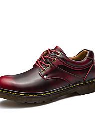 Недорогие -мужская обувь pu весна осень комфорт oxfords для наружного бордового коричневого серого