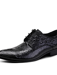 cheap -Men's Shoes Leather Cowhide Spring Fall Formal Shoes Wedding Shoes For Wedding Party & Evening Office & Career Black Blue Burgundy