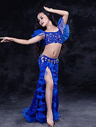 cheap -Belly Dance Outfits Performance Lace Organza Milk Fiber Lace Ruffles Short Sleeve Dropped Skirts Top