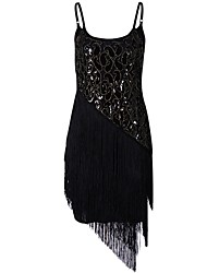 cheap -The Great Gatsby 1920s Costume Women's Flapper Dress Black Golden Vintage Cosplay Polyster Short Sleeves Cap