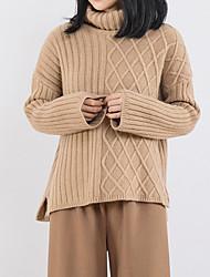 abordables -Femme Sortie Manches Longues Pullover - Couleur Pleine Col Roulé