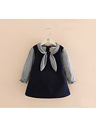 cheap -Girl's Daily Solid Dress,Cotton Polyester Winter Fall Long Sleeves Casual Navy Blue