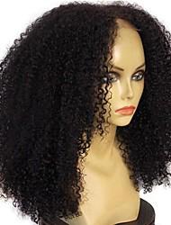 levne -Přírodní vlasy Mongolské vlasy Krajka paruka Jheri vlny Afro Kinky Kudrny Krajka vpředu Nezpracované 100% Panna Střední část Přírodní