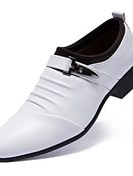 preiswerte -Herrn Schuhe Kunstleder Frühling / Herbst formale Schuhe Loafers & Slip-Ons Booties / Stiefeletten Weiß / Schwarz / Hochzeit