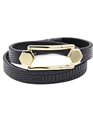 billige -Dame Wrap Armbånd - Læder Basale, Mode Armbånd Grå / Mørkerød / Mørkegrå Til Daglig Gade