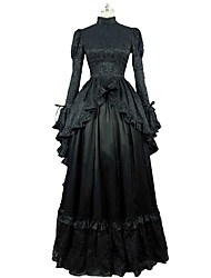 cheap -Victorian Rococo Costume Women's Adults' Dress Black Vintage Cosplay 100% Cotton Long Sleeves Puff Sleeve