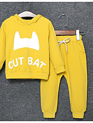 cheap -Boys' Daily Solid Print Letter Clothing Set,Nylon Spring Fall Long Sleeve Casual Light Blue Yellow Purple Orange Green