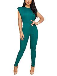 abordables -Femme Soirée Combinaison-pantalon - Dos Nu, Couleur Pleine Taille haute