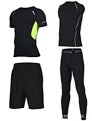 cheap -Men's Running Shirt with Shorts - Grey, Green / Black, Black / Blue Sports Shorts / Sweatshirt / Compression Clothing Fitness, Gym, Workout Short Sleeve Activewear Fast Dry