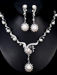 economico -Per donna Set di gioielli Strass Perla Lega Di forma geometrica Di tendenza Europeo Matrimonio Quotidiano 1 collana Orecchini Bigiotteria