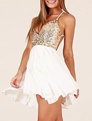 cheap -Women's Street chic Sheath Dress - Patchwork, Backless Sequins Criss-Cross High Waist Asymmetrical V Neck