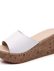 cheap -Women's Shoes PU Summer Comfort Slippers & Flip-Flops Flat Heel Open Toe for Casual Outdoor White Black Blue