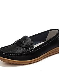 abordables -Chaussures Similicuir Printemps Automne Confort Mocassins et Chaussons+D6148 Talon Plat pour Décontracté Habillé Noir Orange Brun Foncé
