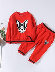 cheap -Unisex Daily Painting Clothing Set, Cotton Winter Fall Long Sleeves Casual Black Red