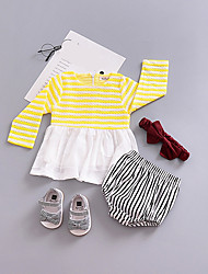 cheap -Baby Girl's Daily Print Dress, Cotton Spring Simple Long Sleeves White Yellow