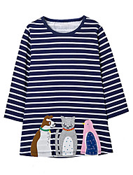 cheap -Girl's Daily Striped Patchwork Dress, Cotton Spring Fall Long Sleeves Cute Casual Cartoon Navy Blue