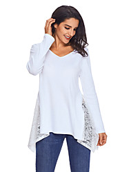 cheap -Women's Polyester Spandex T-shirt - Solid, Lace V Neck