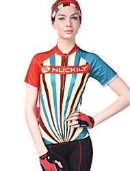 baratos -Nuckily Mulheres Manga Curta Camisa para Ciclismo - Camuflado Moto Camisa / Roupas Para Esporte, Resistente Raios Ultravioleta, Respirável, Tiras Refletoras Poliéster, Lycra / Com Stretch