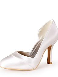 preiswerte -Damen Schuhe Seide Frühling Sommer Pumps Hochzeit Schuhe Stöckelabsatz Peep Toe Ausgehöhlt für Hochzeit Party & Festivität Elfenbein