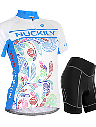 economico -Nuckily Per donna Manica corta Maglia con pantaloncini da ciclismo - Blu Floral / botanico Geometrico Bicicletta Pantaloncini /Cosciali