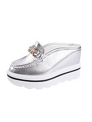 cheap -Women's Shoes Patent Leather Summer Comfort Slouch Boots Sandals Walking Shoes Wedge Heel Open Toe Bowknot for Casual Gold White Silver