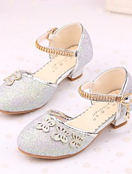 cheap -Girls' Shoes Sparkling Glitter Spring Fall Tiny Heels for Teens Flower Girl Shoes Comfort Heels for Casual Silver Purple Pink