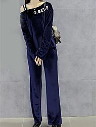 abordables -Mujer Noche Conjunto - Un Color Hombros Caídos Pantalón