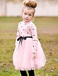 cheap -Baby Girl's Daily Solid Dress, Wool Cotton Linen Bamboo Fiber Acrylic Spring Simple Short Sleeves White Black Blushing Pink