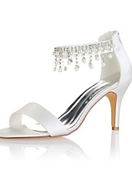 cheap -Women's Shoes Stretch Satin Summer Basic Pump Wedding Shoes Stiletto Heel Open Toe Crystal / Pearl Ivory / Party & Evening
