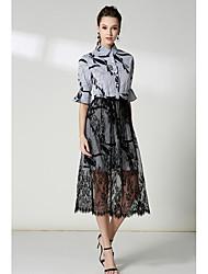 cheap -Women's Vintage Loose Dress - Striped High Rise Shirt Collar