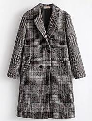 economico -Cappotto Da donna Quotidiano Vintage Inverno,Tinta unita Rotonda Cotone Acrilico Standard Maniche corte A pieghe