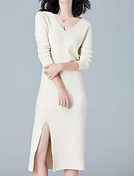 baratos -Mulheres Tricô Vestido Côr Sólida Decote V Cintura Alta Altura dos Joelhos