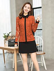 cheap -Women's Street chic Shirt - Solid Colored Shirt Collar