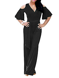 cheap -Women's Sophisticated Jumpsuit - Solid Colored, Cut Out Wide Leg V Neck