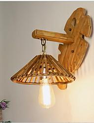 cheap -Matte Lantern Wall Lamps & Sconces Bedroom / Garden Wood / Bamboo Wall Light 3 W / E27