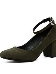 preiswerte -Damen Schuhe Kunstleder Frühling Sommer Pumps High Heels Blockabsatz Spitze Zehe Schnalle für Kleid Schwarz Grün