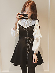 cheap -Women's Daily Vintage A Line Dress,Color Block Shirt Collar Above Knee Long Sleeve Polyester Fall High Rise Micro-elastic Thin